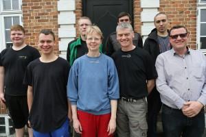 Team Asbjerggaard og konstruktør Kim Kofoed, Gefion  (Foto: Niels Okking, Landbrugsnyt)